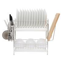 達人收納  304不鏽鋼免組裝雙層碗盤瀝水架
