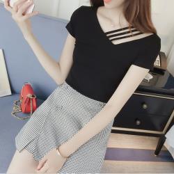 【名模天后】特殊條領造型短袖上衣-(M~2XL)