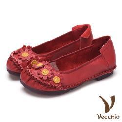 【Vecchio】真皮頭層牛皮手工縫線花朵裝飾低跟舒適單鞋 紅