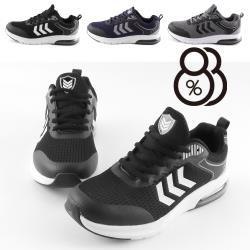 【88%】乳膠氣墊/減壓鞋底 (男鞋39-44)2.5cm 反光LOGO針織 圓頭平底綁帶休閒鞋