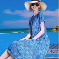 伊凡莎名媛時尚-法式夏日海天藍度假苧麻洋裝
