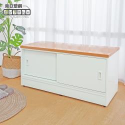 Birdie南亞塑鋼-3尺二推/拉門防水塑鋼坐式鞋櫃/座鞋櫃/收納穿鞋椅(木紋色+白色)