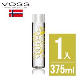 【挪威VOSS芙絲】檸檬小黃瓜風味氣泡水(375ml)-時尚玻璃瓶