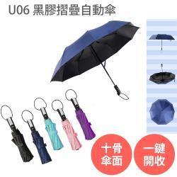 U06 抗UV 十骨 黑膠 摺疊 自動傘  兩入組