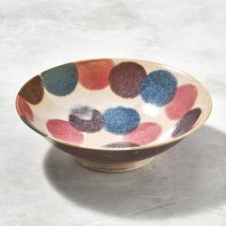 有種創意 - 日本美濃燒 - 筆青釉繪沙拉碗 - 粉點打