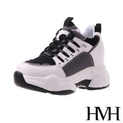 【HMH】潮流設計感繫帶拼接造型內增高厚底老爹鞋 黑