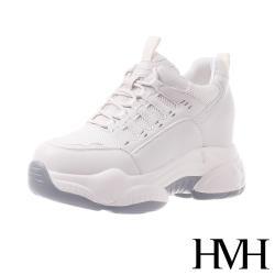 【HMH】潮流設計感繫帶拼接造型內增高厚底老爹鞋 米