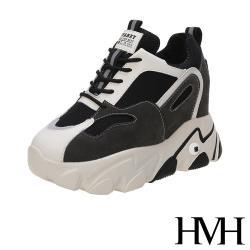【HMH】個性夜光條復古網布拼接厚底內增高時尚老爹鞋 黑