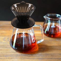TIMEMORE泰摩黑冰瞳手沖咖啡套裝組(限量版)       (玻璃分享壺360ml+黑色限量濾杯01號1~2人份)