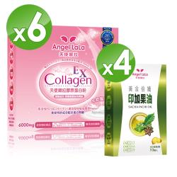Angel LaLa 天使娜拉_EX膠原蛋白粉 牛奶風味6盒+印加果油4盒(10入)