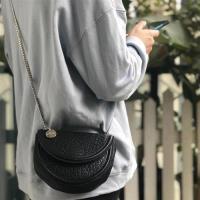 【米蘭精品】側背包真皮馬鞍包-羊皮鍊條半圓形斜背女包包73ym12