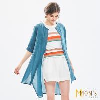 MONS質感休閒棉麻長版罩衫(一款三色)
