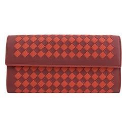 BOTTEGA VENETA 150509 手工編織雙色羊皮扣式長夾.紅