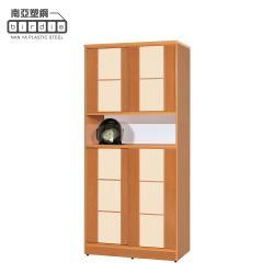 Birdie南亞塑鋼-3尺方塊直飾條四推/拉門中開放防水塑鋼高鞋櫃(木紋色+白橡色)