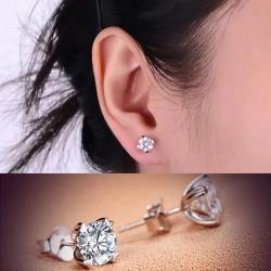 【Emi艾迷】韓國極簡系列簡約氣質鋯石單鑽耳環