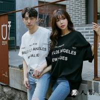 【男人幫】T1534*MIT 台灣製造【基本款黑 BILLY LOS ANGELES NEW VALUES 印花 自創純棉短袖T恤】