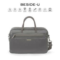 【英國BESIDE-U】NUTOPIA系列 都會時尚3Way電腦公事包/ 手提包(灰色)