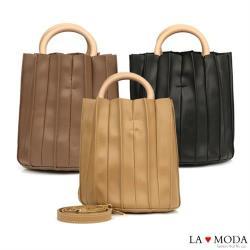 【La Moda】質感設計滿點皺摺設計木質手把肩背手提圓筒包(共3色)