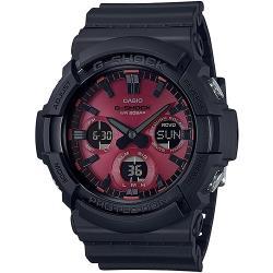 【CASIO】G-SHOCK 強悍耐衝設計太陽能雙顯錶-黑x紅面 (GAS-100AR-1A)