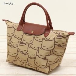 【Pooh Chan-噗將閉眼貓】可愛摺疊托特包 -咖啡色