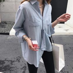【名模天后】素色拼接立領排扣造型襯衫(M-2XL)