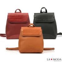 【La Moda】品味生活蛇紋壓紋面料多背法大容量斜背小包後背包(共3色)