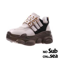【NO SUB】時尚鉚釘皮帶釦復古造型厚底老爹鞋 米