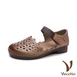 【Vecchio】真皮頭層牛皮甜美花邊縷空編織帶魔鬼粘低跟涼鞋 卡其