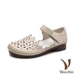 【Vecchio】真皮頭層牛皮甜美花邊縷空編織帶魔鬼粘低跟涼鞋 米