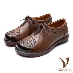 【Vecchio】真皮頭層牛皮舒適復古大圓頭深口綁帶花邊造型平底休閒鞋 棕