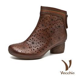 【Vecchio】真皮頭層牛皮縷空洞洞手工彩色縫線造型粗跟短靴 棕