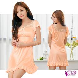 Sexy Cynthia 性感睡衣 甜美粉橘蕾絲緞面小袖睡裙