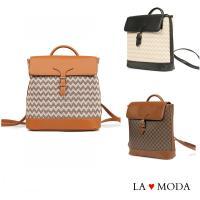 【La Moda】質感女孩時尚壓紋設計大容量後背包(共3色)