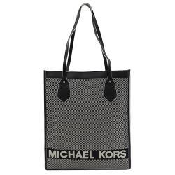 MICHAEL KORS BAY 刺繡LOGO帆布皮飾邊直立托特包.黑白