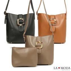【La Moda】時尚質感大釦飾設計大容量肩背斜背子母包(共3色)
