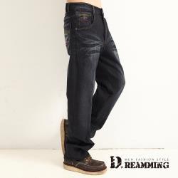 【Dreamming】十字架圖騰刷白伸縮休閒中直筒牛仔褲(深藍)