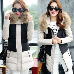 【K.W.韓國】 (現貨)時尚奢華毛領修身保暖羽絨外套