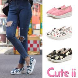 【Cute ii】歐美流行款馬卡龍色系素面/拼圖透氣帆布懶人休閒搖搖鞋 健走鞋