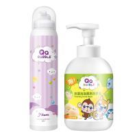 QQ Bubble 台灣製抗菌泡泡洗手乳洗手慕斯320ml+神奇好玩魔法沐浴泡泡慕斯-花香泡泡紫