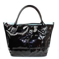 agnes b.  愛心點點內裡PVC滑質皮革水餃包-大款/黑色