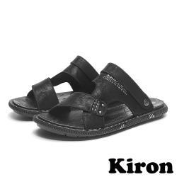 【Kiron】個性百搭兩穿法休閒平底沙灘涼拖鞋 黑