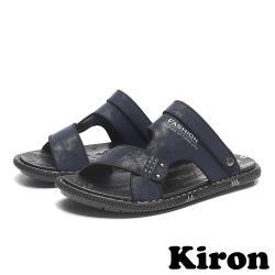 【Kiron】個性百搭兩穿法休閒平底沙灘涼拖鞋 藍