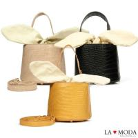 【La Moda】創意滿點超CUTE大耳朵設計蛇紋壓紋面料肩背桶包小包(共3色)