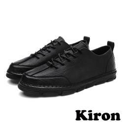 【Kiron】復古質感皮革時尚經典休閒鞋 黑