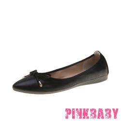 【PINKBABY】金屬亮皮蝴蝶結造型尖頭低跟摺疊便鞋 黑