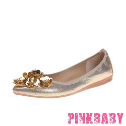 【PINKBABY】金屬亮皮亮片鑽花造型尖頭低跟摺疊便鞋 金