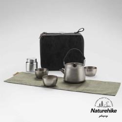 Naturehike 野風戶外便攜純鈦一壺三杯茶具套組 附收納盒