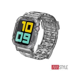 AHAStyle Apple Watch 冰川晶透 防摔透明運動錶帶 透灰色