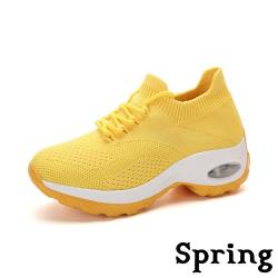 【SPRING】繽紛色彩超彈力氣墊舒適飛織綁帶休閒運動鞋 黃