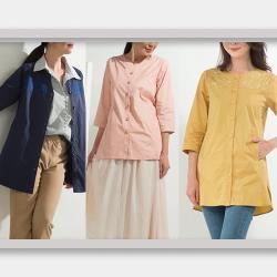 蘭陵(3入)精梳棉質刺繡開襟上衣外套I03-56
